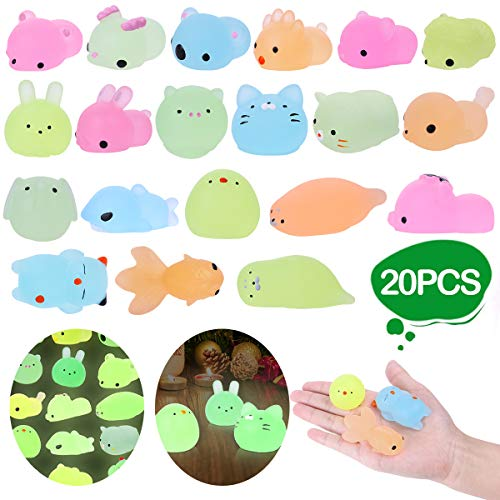 LEEHUR Party Favors Mochi Glitter Squishies 20pcs Glow in The Dark Animals Squishy Kids Squeeze Toys Kawaii Sensory Stress Anxiety Reliever Birthday Halloween Christmas Party Supplies -