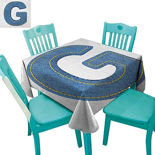 - longbuyer Letter G,Dinning Tabletop Decor,Modern Denim Font Typeset Character Jeans Cloth with Stitches Uppercase Print,36
