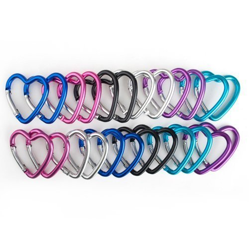 GOGO 24 PCS Aluminum Heart Carabiners in Assorted Colors, Gift Idea, Outdoor Stuffs