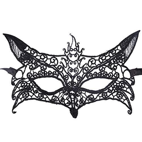 Wolf Masquerade Mask (SEIKEA Black Lace Eye Mask for Women Mardi Gras Costumes)