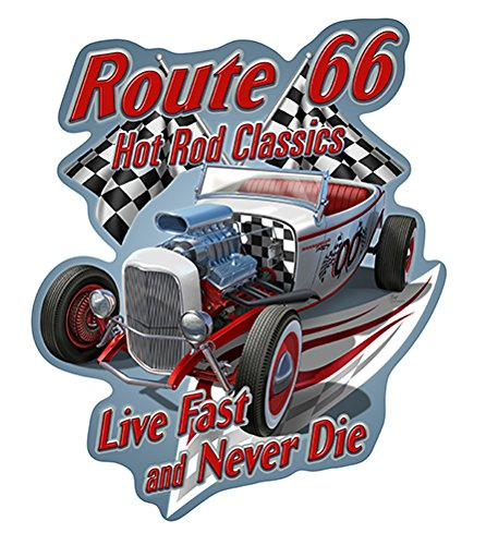 SignMission Route 66 Hot Rod Classics Live Fast and Never Die Novelty Sign   Indoor/Outdoor   Funny Home Décor for Garages, Living Rooms, Bedroom, Offices Personalized Gift Wall Plaque Decoration ()