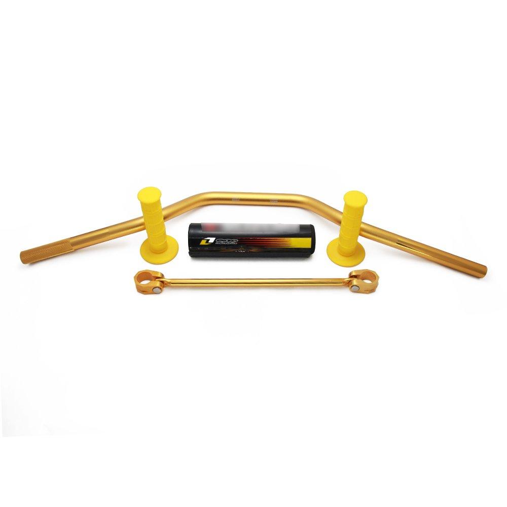JFG RACING 7//8 22mm Gold Universal Motorcycle Mid Handlebars Handle Bar Tubes Handlebar Cross Bar with Pad Grips Set for Suzuki RM85 RM125 RM250 RMZ250 RMZ450