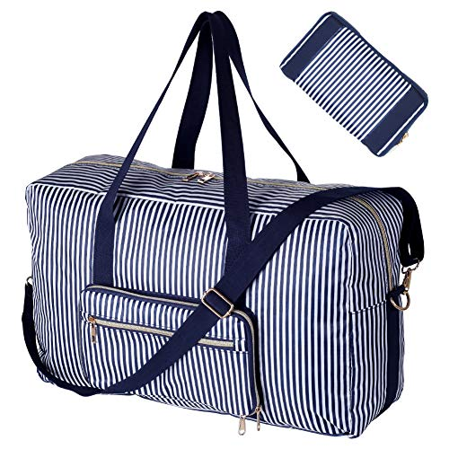 Foldable Travel Bag Water Resistant Travel Duffle Bag Carry on Bag with Lining and Shoulder ()
