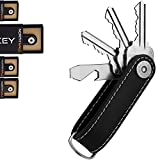 Smart Key Organizer Keychain, 100% Real Leather Compact Key Holder, Secure Locking Mechanism, Pocket Key Chain up to 10 Keys, Edc Stainless Steel Multi-tool [Bottle Opener, Screwdriver, Box Opener]