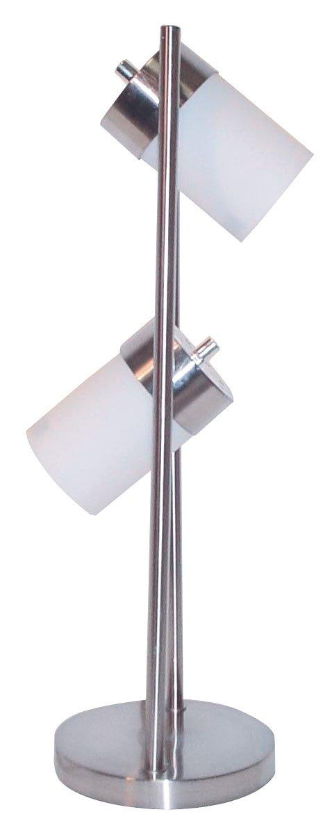 ORE International 3031TW Modern 2-Light Adjustable Table Lamp, 25'' x 9'' x 9'', White