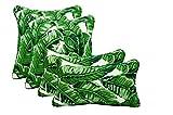 Sunbrella Tropics Jungle -- Set of 4 Indoor / Outdoor Pillows - 17'' Square Throw Pillows & 11'' x 19'' Rectangle / Lumbar Decorative / Accent / Throw Pillows