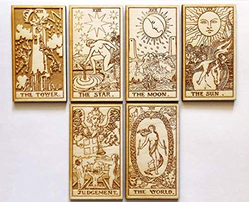 LumEngrave Wood Engraved Tarot Card Deck Rider Waite Collectible 78 Wooden Card Set Major & Minor Arcana Tarot Cards Occult Gift Astrology Gift (Major Arcana (22)) by LumEngrave (Image #2)