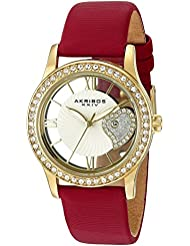 Akribos XXIV Womens AK811RD Quartz Movement Watch with Yellow Gold and See Thru Heart Dial Featuring a Red Satin...