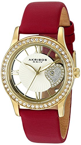 Akribos Xxiv Womens Ak811rd Quartz Movement Watch With Yellow Gold And See Thru Heart Dial Featuring A Red Satin Strap
