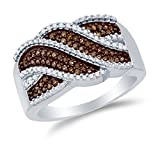 Size 4 - 10K White Gold Chocolate Brown & White Round Diamond Fashion Ring - Channel Setting (1/3 cttw.)