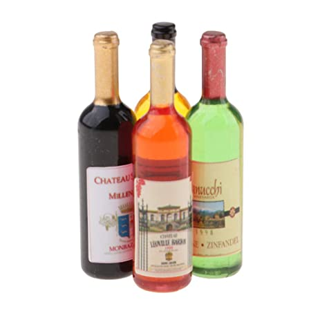 6 Bottle Wine for 1:12 Scale Dollhouse Miniatures Dining Drink Pip Ec