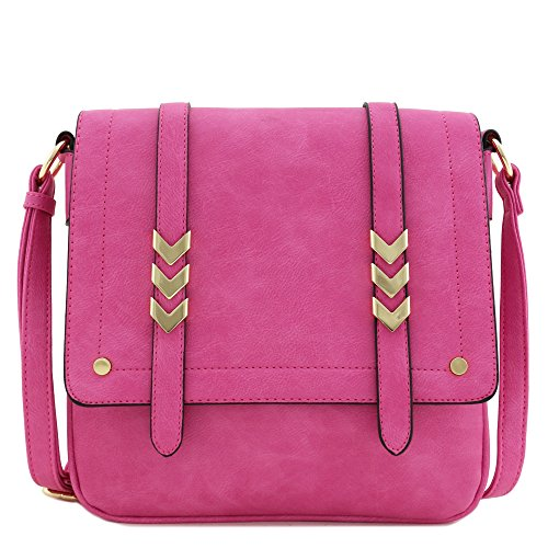 Fuchsia Pink Leather - Double Compartment Large Flapover Crossbody Bag (Fuchsia)