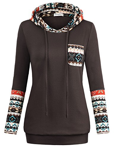 - SUNGLORY Sweater Hoodie,Drawstring Pullover Round Neck Hoodie Sweatshirt Coffee