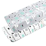 Stretchy Changing Pad Covers for Boys Girls,2 Pack Jersey Knit,Elephant & Whale