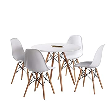 Miraculous Dining Table And Chairs Set Of 4 White Soild Wooden Dining Table Set Kitchen Dining Room Furniture Round Table And 4 Chairs Home Interior And Landscaping Ologienasavecom