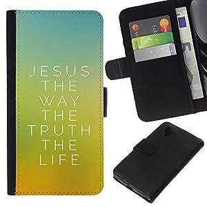 KLONGSHOP // Tirón de la caja Cartera de cuero con ranuras para tarjetas - Jésus de la Bible The Way - LG Nexus 5 D820 D821 //