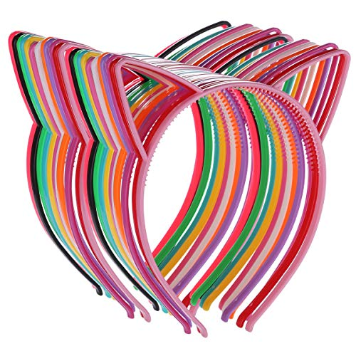 24 Cat Ear Headbands Plastic Hairbands Hair Hoops Party Costume Daily Decorations Party Bunny Cat Bow Headwear Cats Accessories for Women Girls Daily Wearing and Party Decoration ()