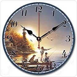 WOOCH Large Decorative Lighthouse Wooden Wall Clock - Fishing Children Theme - Silent Wood Wall Clock Non Ticking for Living Room Kitchen Bathroom Bedroom Home Decor 12-Inch