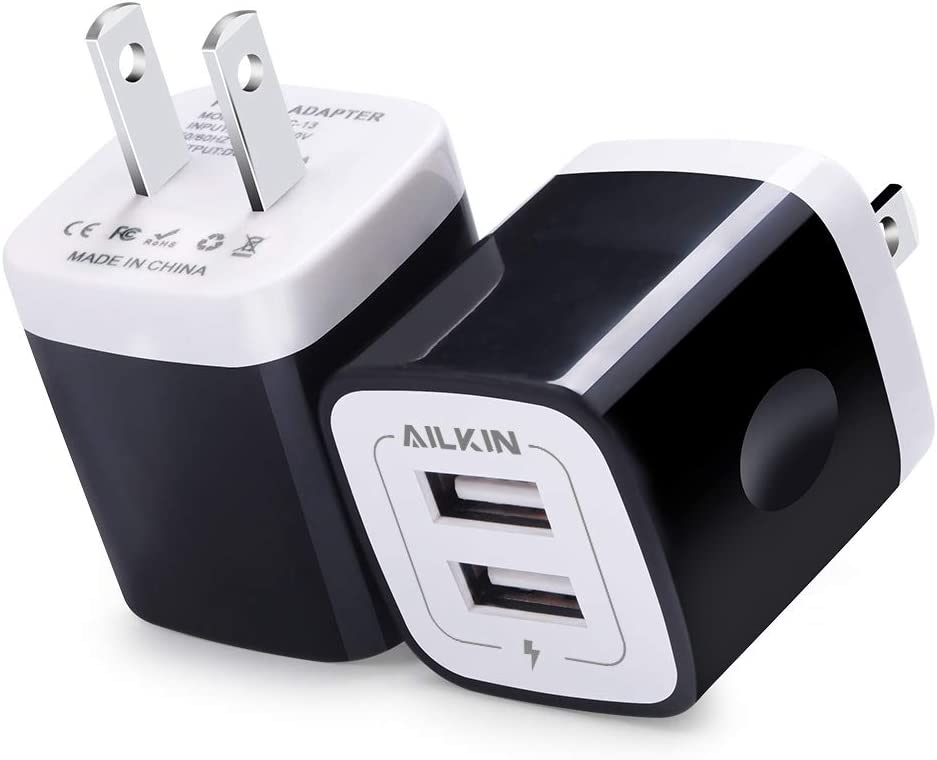 USB Wall Charger, Charger Block, Ailkin 2.1A Multiport Fast Charge Power Brick Cube Replacement for iPad, iPhone, iPod, Samsung Galaxy, Huawei, HTC, LG, Nokia or Other Cell Phone Smart Devices