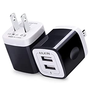 USB Wall Charger, Charger Adapter, Ailkin 2-Pack 2.1Amp Dual Port Quick Charger Plug Cube Replacement for iPhone X/8/7/6S/6S Plus/6 Plus/6, Samsung Galaxy S7/S6/S5 Edge, LG, HTC, Huawei, Moto, Kindle