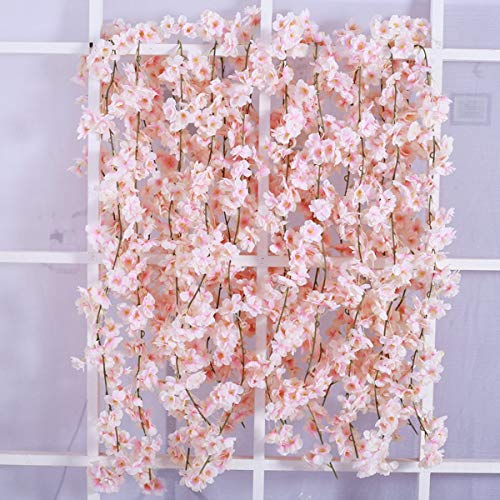 Homcomoda 2 Pack Artificial Silk Cherry Blossom Hanging Vine Garland for Wedding Home Garden Party Decor (Pink)