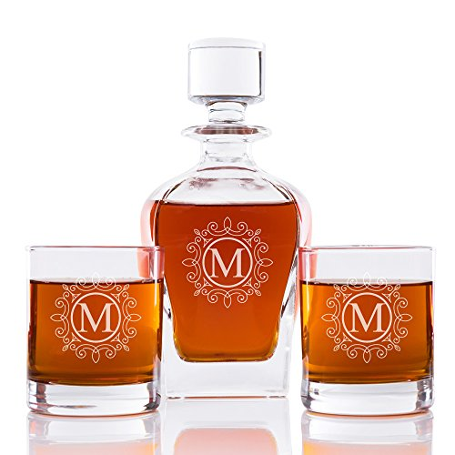 Ornate Monogram 24 oz. Whiskey Decanter and Rocks Glasses (Set of 3), Letter M by Abby Smith (Image #3)