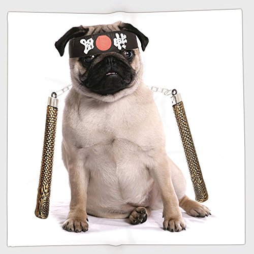 iPrint Polyester Bandana Headband Scarves Headwrap,Pug,Ninja Puppy with Nunchuk Karate Dog Eastern Warrior Inspired Costume Pug Image Decorative,Cream Black Gold,for Women Men