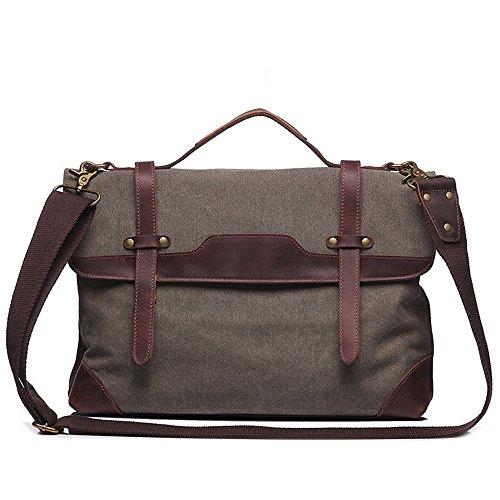 Armée Briefcase Bandoulière Zipper À Toile Simple Gris De Computer Messenger Sac Bag L'homme Couleur couleur Aihifly Le Verte Travail Retro wqOO0U