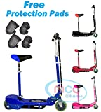Electric E Scooter Ride on Rechargeable Battery 120W 24V Removable Seat (Pink, Red, Black, Blue)