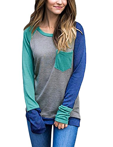 Fitted Baseball Tee (Fitted Baseball Tee,EMVANV Lady Comfortable Daily Wear Long Sleeve T Shirt Women with Pockets,Cyan - Light Blue L)