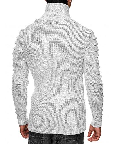 934fa99dfc8e BestStyle - Pull col châle homme blanc en laine pas cher a la mode   Amazon.fr  Vêtements et accessoires