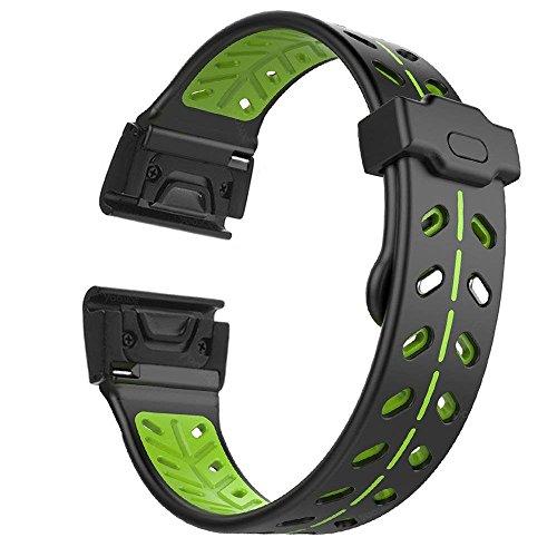 Fenix 5X Watch Band,YOOSIDE Customized Double Security Buckle 26mm Quick Fit Silicone Watch Strap for Garmin Fenix 5X/5X Plus/Fenix 3/3 HR/Descent Mk1,Fit Wrist 6.7-9.25(NOT Fenix 5/5S)(Black-Green)