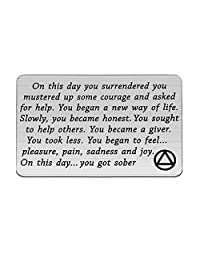 TIIMG Sobriety Gift Addiction Recovery Gift AA Gift NA Gift 12 Step Gifts Alcoholics Anonymous AA Recovery Sobriety Wallet Insert Card