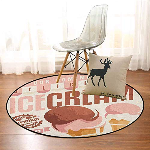 Ice Cream Bedroom Carpet Pop Art Style Nostalgic Homemade Ice Cream Emblem Graphic Print for Various Areas D39.7 Inch Pale Pink Chocolate Yellow (Best Homemade Room Deodorizer)