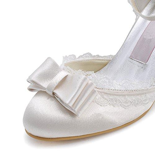 Minishion Gymz696 Kvinners Tre Hæl Sateng Fest Promenadekonsert Brude Bryllup Sko Pumper Sandaler Flatfs Elfenben-7,5 Cm Hæl