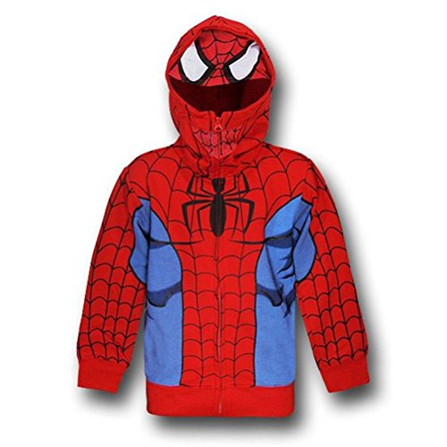 Spiderman Little Boys' Hoody Toddler, Red, 2T - Mask Zipper Hoodie For Boys