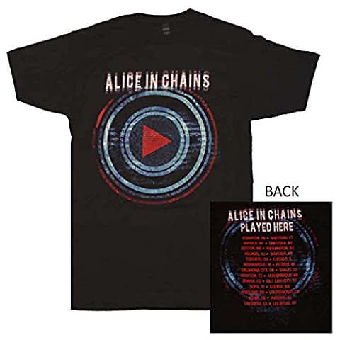 Alice in Chains Mens T-Shirt - Play Button Image Played Here Tour (Extra Large) Black (Alice In Chains Button)