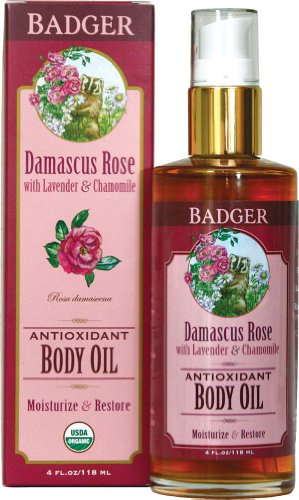Badger Damascus Rose Antioxidant Body Oil with Lavender & Chamomile, 4 Fl Oz/ 118 ml