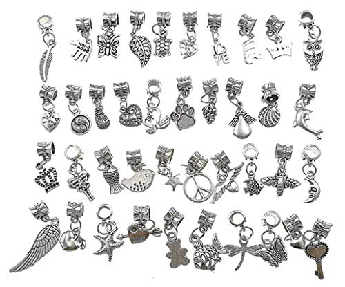 - Kintashun Alloy Dangle Spacer Beads Bails Connector with Multistyle Pendant Charm Dangler for DIY Bracelet Necklace Jewelry Making Accessaries(40pcs,Tibetan Silver Tone)