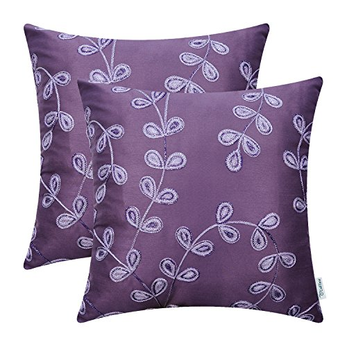 CaliTime Pack of 2 Faux Silk Throw Pillow Covers Cases for Sofa Couch Home Decoration 18 X 18 Inches Fantasy Gradient Growing Leaves Chain Embroidered Purple