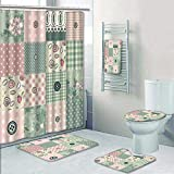 Philip-home 5 Piece Banded Shower Curtain Set Seamless Patchwork in Shabby Chic Style Pattern Printing Suit