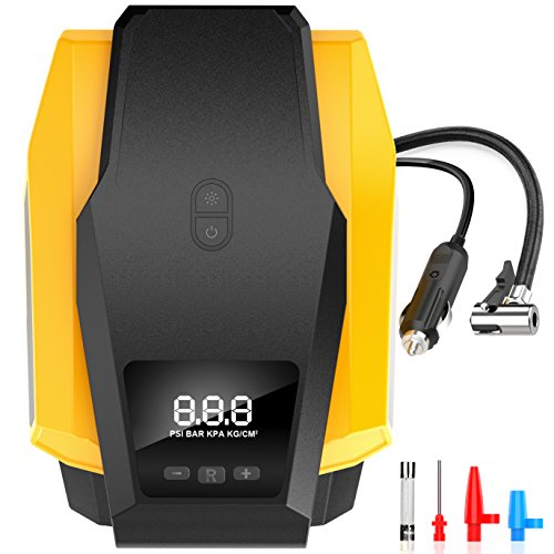 Portable Air Compressor Auto Shut-off Digital Tire Inflator Pump 12V 150PSI On-Board Car Pump with LED Light for Cars, Motorbikes, Bicycles, Basketballs & More (Tire Pump Automobile)