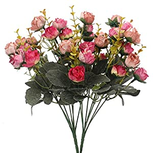 Duovlo 7 Branch 21 Heads Artificial Flowers Bouquet Mini Rose Wedding Home Office Decor,Pack of 2 (2 PCS Rose Red) 60