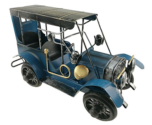 Vintage Lifelike Iron Art Metal Old Car Automobile Model For Home Decoration Christmas Birthday Gift Kids Toy (Blue)