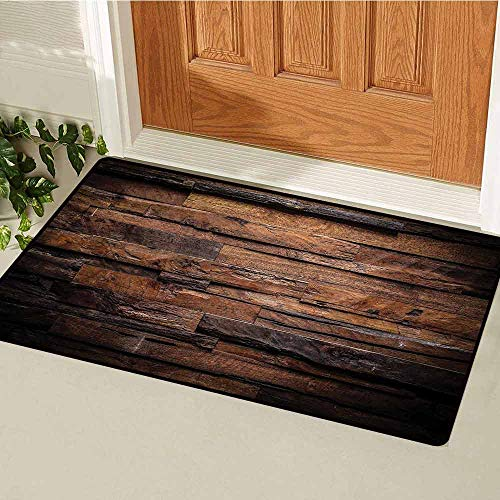 Gloria Johnson Chocolate Welcome Door mat Rough Dark Timber Texture Image Rustic Country Theme Hardwood Carpentry Door mat is odorless and Durable W29.5 x L39.4 Inch Brown Dark Brown