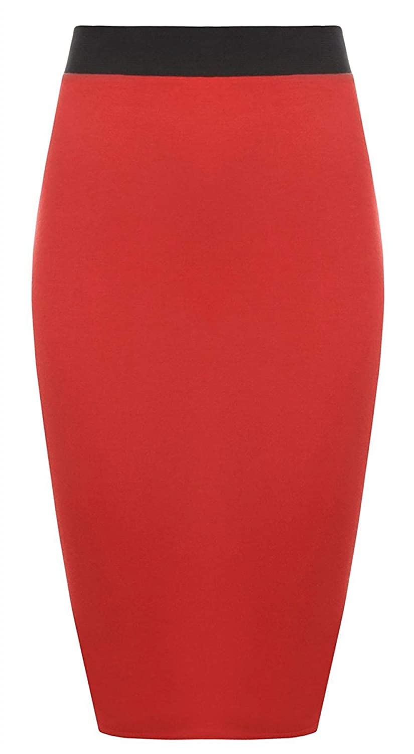 Womens Pencil Stretch Tube Wiggle Ladies Contrast Elasticated Waistband Fit Bodycon Plain Office Midi Skirt
