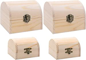 HAKACC 4Pack Two Size Unfinished Natural Wood Color Wooden Treasure Chests Boxes for Gift Arts Jewelry Home Decor