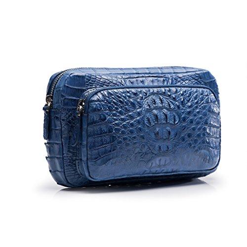 ZRO Men's Designer Crocodile Leather Short Wallets Large Capacity Clutch BLUE by ZRO