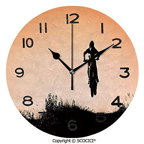 (SCOCICI 10 inch Round Clock Motorcycle Jumping Over Hills Horizon Sports Hobby Scenery Unique Wall Clock-for Living Room, Bedroom or Kitchen Use )