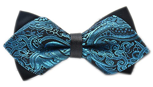 Secdtie Men's Blue Flroal Layers Bow Tie Tuxedo Bowtie for Wedding Party 10